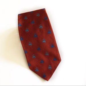Brooks Brothers Silk Orange Tie with Blue Logos